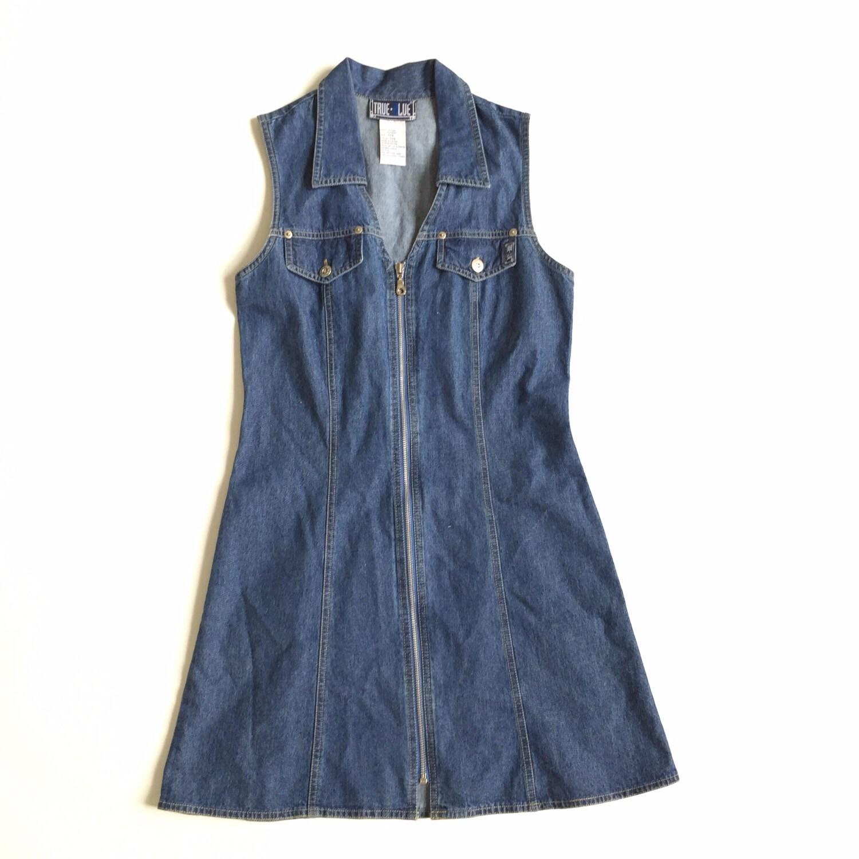 30% FLasH sALe Flash Sale 90s Denim Blue Jean Jumper Dress