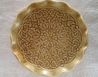 Vintage handmade glazed pottery decorative plate display dish trinket retro urban boho style
