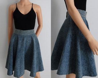 Denim high waisted skirt, vintage blue denim jean acid rinse, gold rhinestone studded, full circle short skirt, small