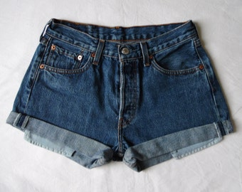 High waisted shorts, vintage Levis 501 blue denim jean shorts, cut off cuffed, pockets showing hotpants, waist 27 28 small