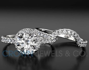 1.25 ct F SI1 White Gold Diamond Engagement Ring Set Round Brilliant Cut Solitaire With Accents And Wedding Band For Women