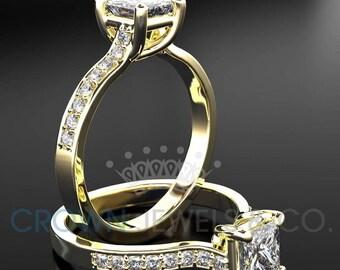 Women Princess Cut Diamond Ring 14 Karat Yellow Gold Setting Certified F SI1 1.2 Carat Diamond Engagement Ring For Her
