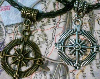 Men's compass pendant choker, compass charm leather necklace