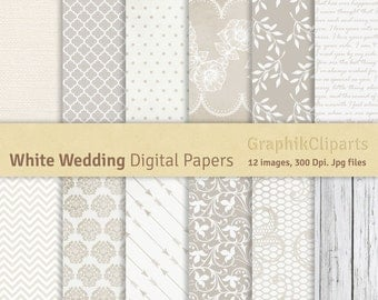 White Wedding Digital Papers. Wedding, Wood, White, Lace, Leve Letter, Wedding Invitation. 12 images, 300 Dpi. Jpg files. Instant Download.