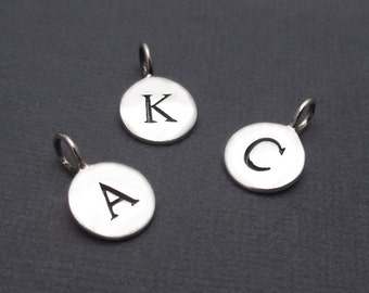 Initial Charm Sterling Silver Monogram Disc, Letter Alphabet Charm - Choose Your Letter