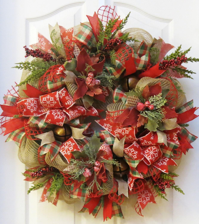 Rustic christmas wreath jingle bell burlap