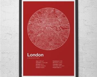 Street Map Art City Print - London, England - Minimalist Map of London Poster Infographic Swiss Style Helvetica Modernist Print