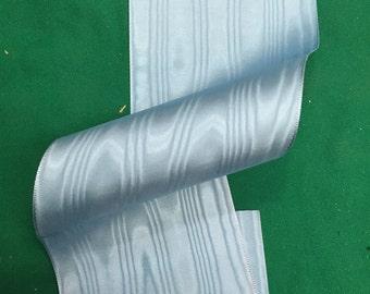 Vintage Light Blue moire taffeta ribbon, 3 1/8 inches wide made of silk and rayon - sold by the yard