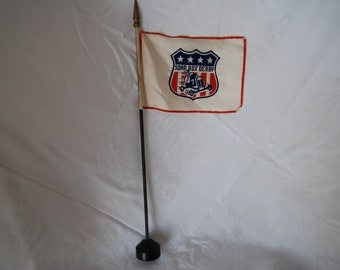 Rare Vintage Soap Box Derby Flag with Stand and Silver-toned Soap Box Derby Lapel/Hat Pin, Circa 1950s