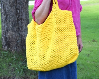 Extra Large Crocheted Cotton Tote, Crocheted Market Bag, Bright Yellow Beach Bag or Tote, Eco-friendly Cotton Yarn Bag