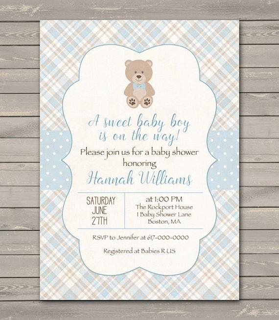Teddy Bear Baby Shower Invitation Boy Baby By