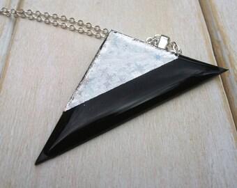 Triangle Black & Silver Pendant - Vinyl Record Jewellery - Contemporary Jewellery - Vinyl Pendant