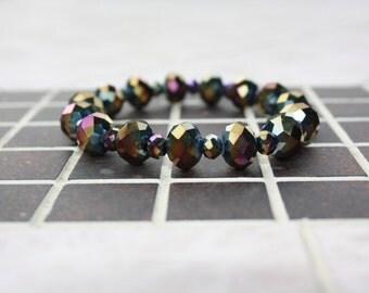Rainbow accent glass beaded bracelet