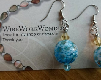 Blue and Gold blown glass earrings