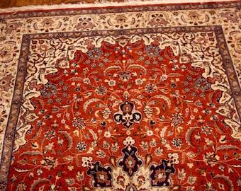 "Semi Antique Persian Tabriz Rug Exquisite 4' 7"" by 7' 3"""