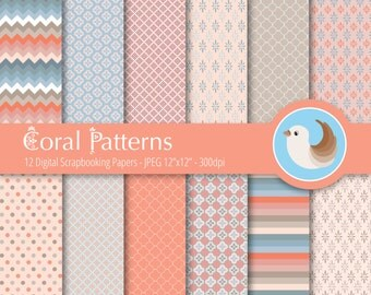Coral Digital Paper Set - Blue and Coral Digital Paper - Grey and Coral Paper - Beige and Coral - Set of 12 Digital Scrapbooking Papers