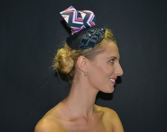 Black Leather bejeweled fascinator