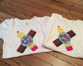 Back to school monogram shirt - monogram school shirt - first day of school shirt - girl school shirt - school outfit - monogram shirt