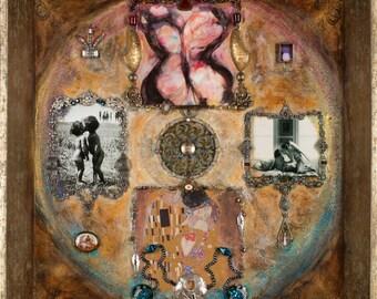 Art Print: Ingathering of the Twin Flames-Sacred Union-soulmates-wedding-Visionary Art-Love-Prayer-Sacred Art-Shari Landau -SacredArtbyShari