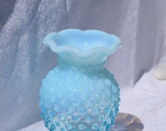 Fenton Blue Opalescent Mini Bud Vase