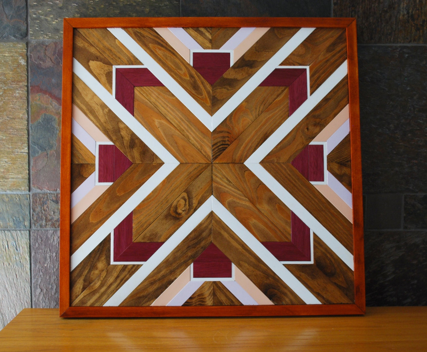 Native american geometric design wood wall art navajo tribal - Design on wooden ...