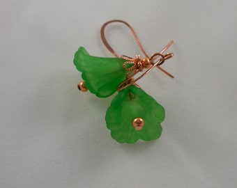 Green Lucite and Copper Flower Earrings