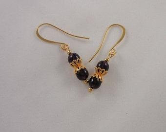 Purple Tanzanite Czech Glass Earrings with Gold Plated Findings