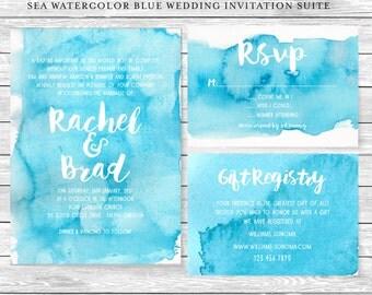 Diy Wedding Gift Registry : Sea Watercolor Blue DIY Wedding Invitation Suite / Printable Digital ...