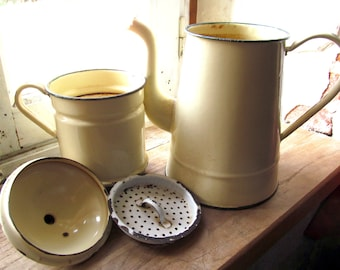 French Antique enamelware Biggin large tall coffee pot in cream with green trim ultimate shabbyness