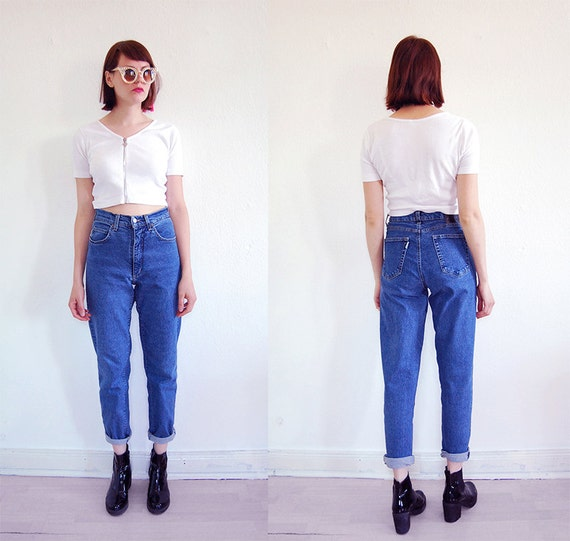 90er vintage highwaist mom jeans karotte s m blau stretch. Black Bedroom Furniture Sets. Home Design Ideas