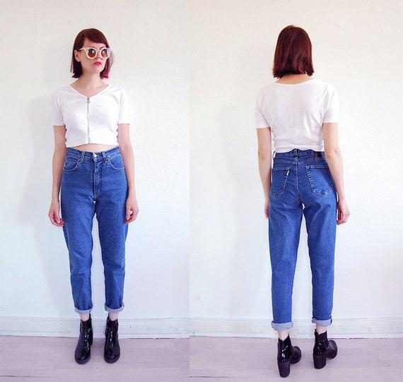 90er vintage highwaist mom jeans karotte s m blau stretch. Black Bedroom Furniture Sets. Home Design Ideas