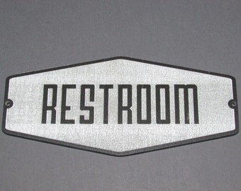 Retro Style Grey and Black Restroom Sign