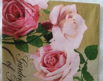 """paper napkins.Set of 3 piece. floral paper napkins. Napkins. Decoupage. - Beautiful decoupage napkins - """"Vintage Love Rose """" 3 paper napkins"""