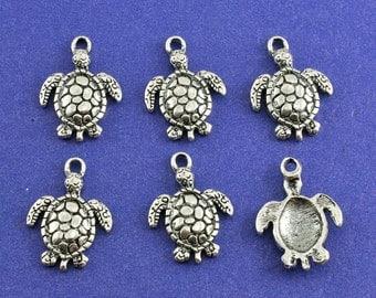 6 pcs - Turtle Charm, Antiqued Sliver Tortoise Pendant, Small Tortoise Turtle AS-B34054H-8S