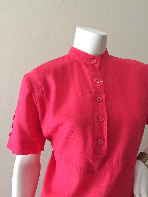 vintage fuchsia doncaster sport linen shift dress w button