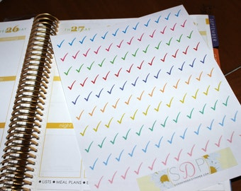 Small Rainbow Checkmarks! Set of 120 Planner Stickers- (059)