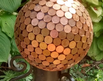 Copper Penny Pennies Garden Sphere Yard Ornament Repurposed Bowling Ball Cent Money Ball