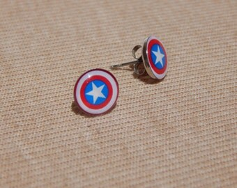 Captain America Earrings, Captain America Stud Earrings, Superhero Earrings, Glass Dome Earrings, Avengers Earrings, Captain America Shield