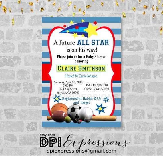 all star sports boy baby shower invitation printable sports, Baby shower invitations