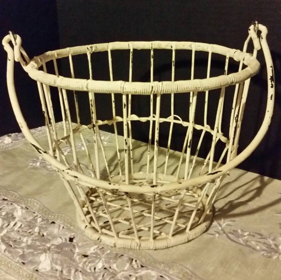 egg basket shabby chic vintage ivory wire by