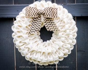 White Wreath - White Burlap Wreath - Fall Wreath - Fall Burlap Wreath - Burlap Wreath - Holiday Wreath - Christmas Wreath - Seasonal Wreath