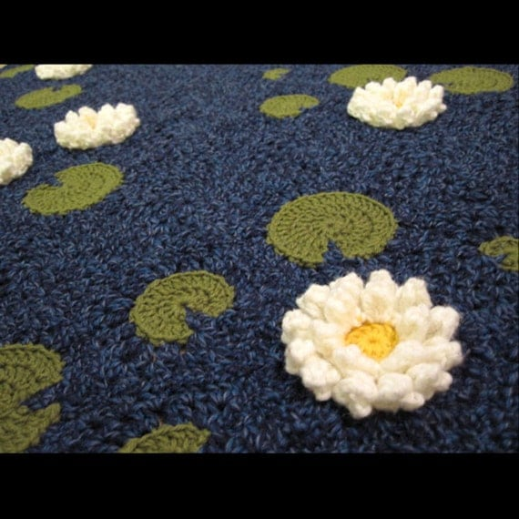 Crochet Pattern Water Lily Pond Baby Blanket By