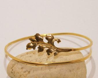 Leaf upper arm band - cuff Handmade Gold - Silver