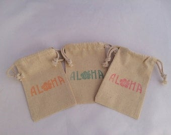 Aloha Hawaiian Favor Bag, Luau Party Favor Bag - Hawaii Party Bag, Hibiscus Thank You Bag