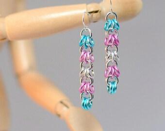 Transgender Pride Dangle Chainmaille Earrings
