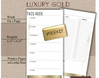 Midori weekly insert Travelers notebook calendar Week on one page Wo1p (fox dori, foxy fix). Luxury Gold Series Weekly planner. Regular size