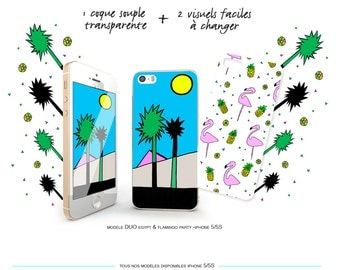 Hull Iphone 5 / 5 S interchangeable Egypt & Flamingo Party