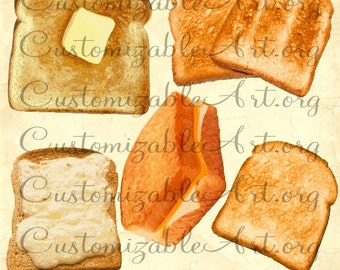 Toast Clipart Digital Toast Clip Art Butter Grill Cheese Sandwich Spread Bread Slice Toasted Bread Clipart Bread Breakfast Images Graphics