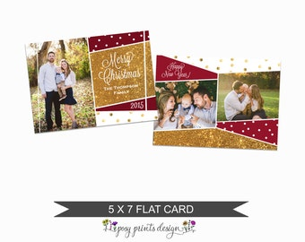 Christmas Card Template with Gold Glitter  - 5x7 Photo Card - Photoshop Template - INSTANT DOWNLOAD or Printable - CC04