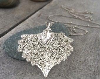 Real Leaf Necklace; Sterling Silver Leaf Necklace; Sterling Silver Cottonwood Leaf Necklace. Free Shipping!